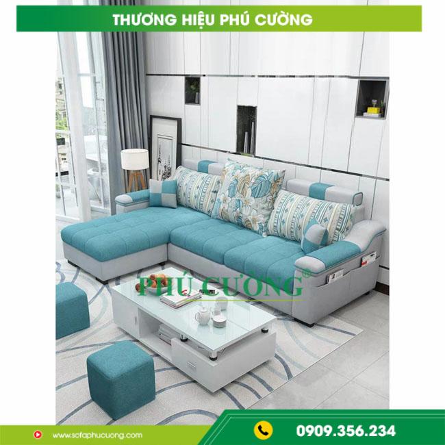 Mẹo nhỏ với sofa nỉ cỏ may nới rộng không gian phòng khách nhỏ 1