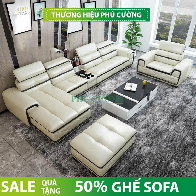Sofa da quận Bình Thủy rất nổi bật trong phòng khách 1