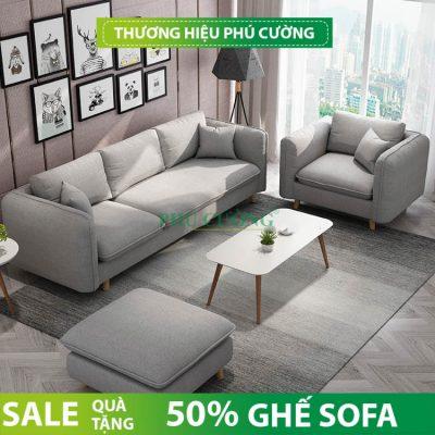 Sofa phòng khách Cần Thơ màu ghi nổi bật 2021 - Phú Cường 2